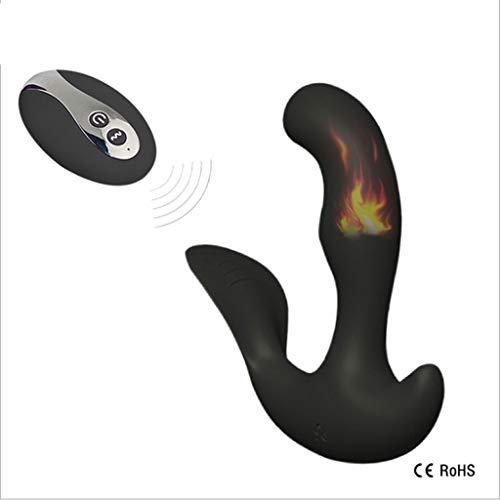 AnnyPnnY001 USB Lade Wireless Remote Massager Intelligente Heizung Back Court Männlichen Massagegerät 10 Frequenz Vibration 100% Wasserdicht (Color : Black)