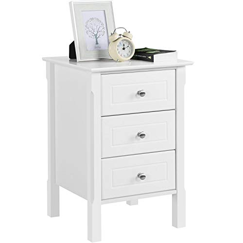 Yaheetech White Bedside Table Wooden Nightstand with 3 Drawers, Side Table for Bedroom/Living Room/Hallway 40x40x60cm