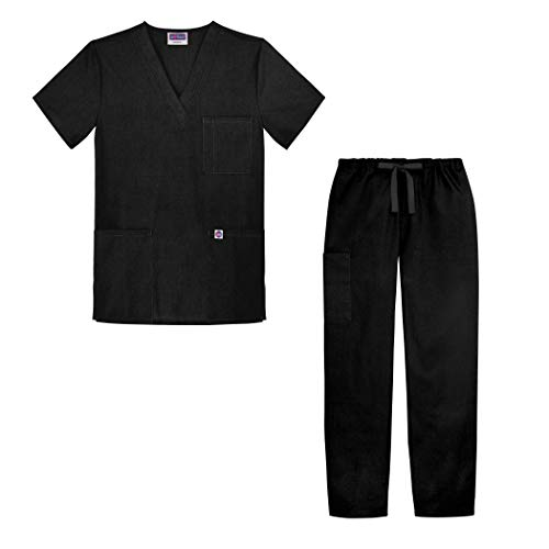 Sivvan Unisex Classic Scrub Set V-Neck Top/Drawstring Pants - S8400 - Black - M