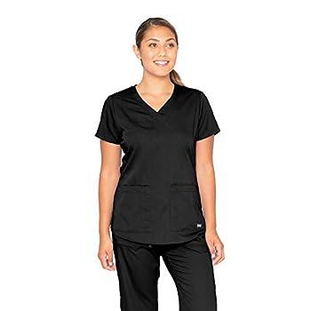 Grey s Anatomy Women s Two Pocket V-Neck Scrub Top with Shirring Back Black Large