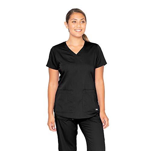 Grey's Anatomy Women's Two Pocket V-Neck Scrub Top with Shirring Back, Black, X-Large