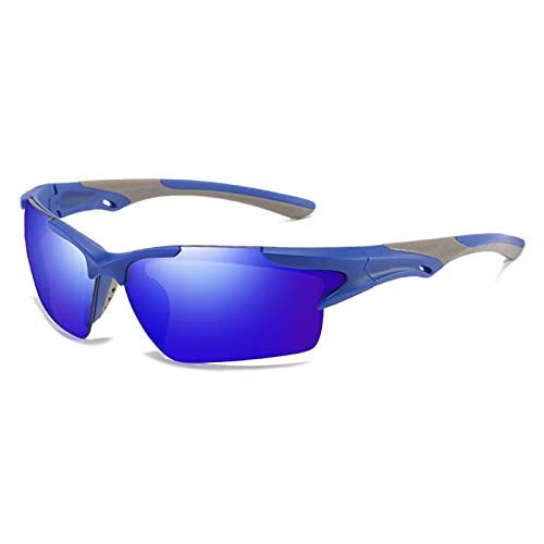 PPCAK Hombres Espejo Gafas de Sol Rojas Marco Negro Gafas Deportivas Mujeres Ciclismo UV400 Unisex Bicicleta Montar Gafas de Sol (Color : 3 Blue Blue)
