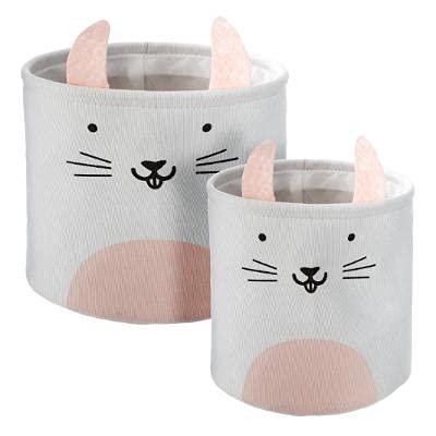 DreamHouse Juego de 2 cestas para juguetes, caja de almacenamiento para bebés y niños, caja de juguetes para la habitación de los niños, bolsa plegable para la colada (conejo)