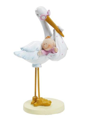 Hobbyfun - Figura decorativa para para tarta o mesa, diseño de cigüeña con bebé niña, 11 cm aprox.