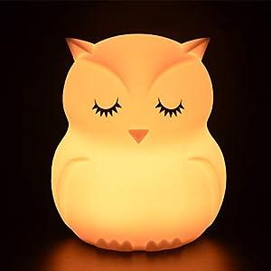 Tekemai luz nocturna infantil, luz quitamiedos, Lámpara de Noche, lámpara quitamiedos portátil y USB recargable, lámpara infantil LED multicolor con mando, luz bebe Silicona suave y lavable - Búho