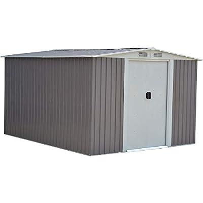 Goplus Outdoor Storage Shed Galvanized Steel Garden Tool House w/Sliding Door, 10 x 8ft (Gray)
