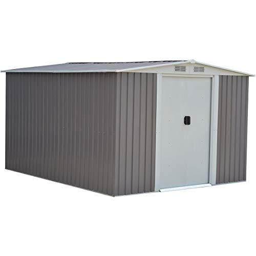 Goplus Outdoor Storage Shed Galvanized Steel Garden Tool House w/Sliding Door, 10 x 8ft (Gray)