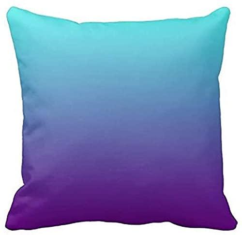 Funda de almohada con diseño de degradado, color azul turquesa y morado