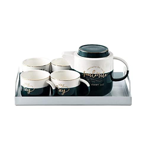 Tea Dark Green Gold Rim Ceramic Tea Set Coffee Cup Mug Creative Simple Home Afternoon Tea Water Cup Storage Tray