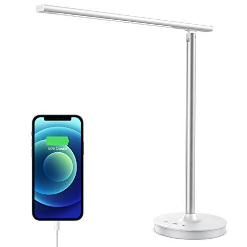 iPosible Schreibtischlampe LED 12 W Tischlampe Dimmbar mit 5 Farb und 10 Helligkeitsstufen Büro Tischleuchte mit Memory Funktion und USB Ladeanschluss für Aufladung des Smartphones Tischlampe