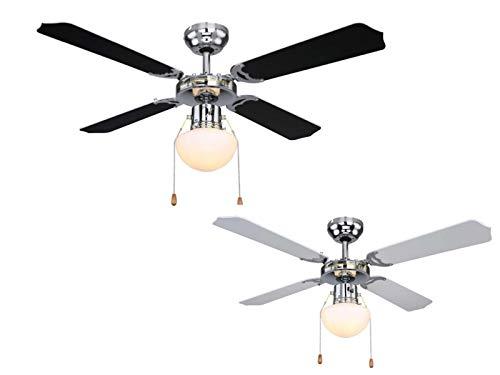Deckenventilator mit Beleuchtung Leise Zugschalter Deckenleuchte mit Ventilator (3 Stufen, Deckenlampe, 106 cm, Rechts Links Lauf, Wendeflügel Schwarz oder Weiß)