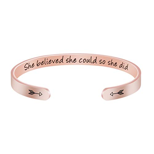 Joycuff She Believed She Could So She Did Rose Gold Bracelet Personalized Inspirational Gift for Teen Girl