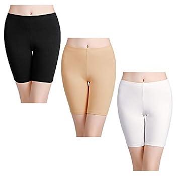 wirarpa Women s Cotton Boy Shorts Underwear Long Leggings Under Shorts Anti Chafe Bloomers Black White Skin Color 3 Pack Size 8