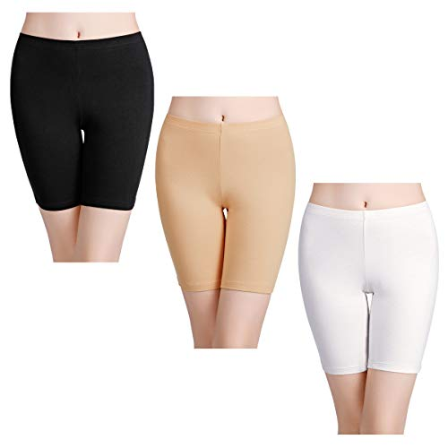 wirarpa Women's Cotton Boy Shorts Underwear Long Leggings Under Shorts Anti Chafe Bloomers Black White Skin Color 3 Pack Size 6