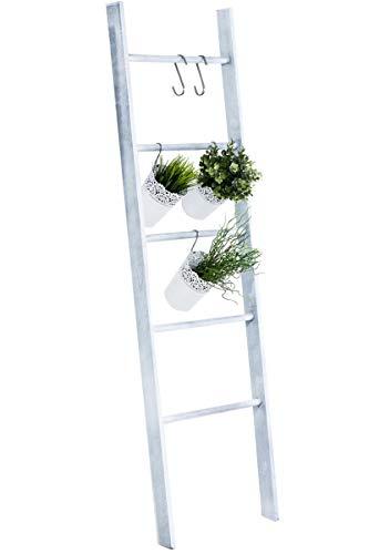 Escalera de Decoración Mariette I Escalera Decorativa de Madera con 5 Peldaños I Toallero en Estilo Rústico I Color:, Color:Gris