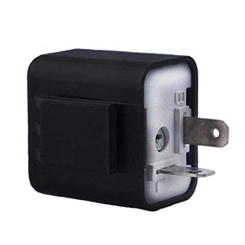 H HILABEE 12V 2Pin LED Relé Intermitente Ajustable Indicador Intermitente Motocicleta Universal - Negro