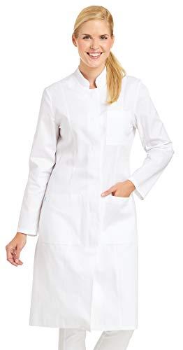 clinicfashion 11310022 Damen Visitenmantel Mantel weiß, Stehkragen, Baumwolle, Größe 36