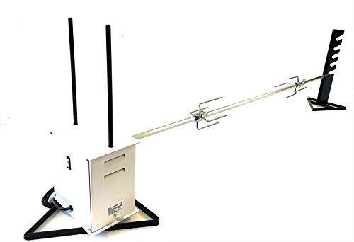 ALLEGRI Girarrosto Elettrico Gigante con Spiedo ACCIAIO INOX sezione Esagonale spessore 16 mm lunghezza cm 140 con coppia fermacarne 4 punte INOX
