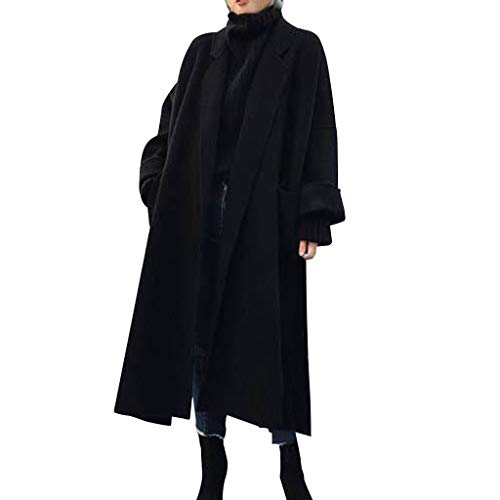 Battnot-Damen Winterjacke Lange Dicker Wollmantel Fashion Vintage Revers Warme Elegant Langarm Freizeit Mäntel Baggy Trenchcoat Windbreaker, Frauen Overcoat Outwear Womens Parka Cardigan Tops S-XL