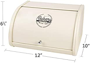 Hot Sales X458 Cream Metal Bread Box/Bin/kitchen Storage Containers with Roll Top Lid (Cream)