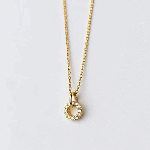 NC110 Collar para Mujer, Hombre, Doble Redondo, Transparente, con Cz, Collar para Mujer, Collar de Cadena de Color Dorado, joyería Fina para Mujer, Collar Colgante para niñas y niños, Regalo