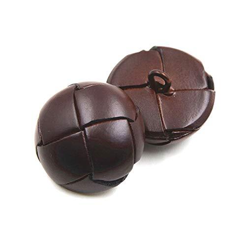 5pcs de cuero botones forrados 15/19/21/23/26mm Negro/marrón botones de cuero para abrigos café, 19mm