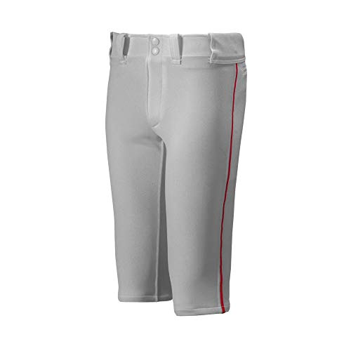 Mizuno Youth Premier Short Piped Pants, Grey/Red, Small