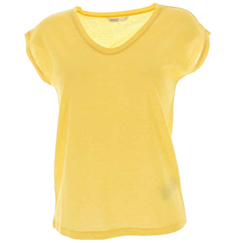 Only ONLSILVERY S/S V Neck Lurex Top JRS Noos Camiseta, Gota de limón, XS para Mujer