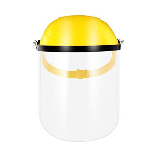 UKCOCO Mund Gesichtsschutz mit Visier Transparent Kunststoff Gesichtsschild Augenschutz Schutzschild Schutzhelm Gesichtsschutzschirm für Draußen Waldarbeiter Schleifen Schweißen Gelb