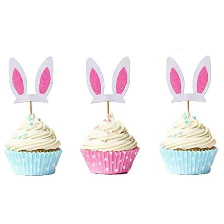 24pcs Bunny Ear Cake Toppers Rabbit Bunny Ear Cupcake Picks Easter Cake Decorations