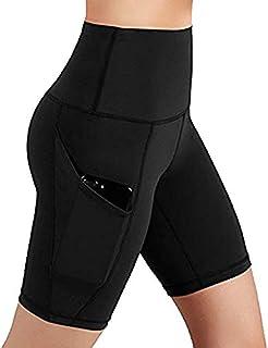 Women Yoga Shorts,High Waist Workout Running Yoga Shorts Tummy Control Side Pockets Leggings Biker Shorts Yamally