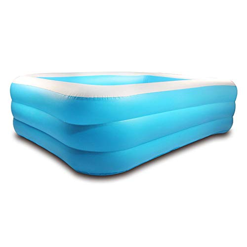 YZQ Piscina Inflable para Niños, Uso Doméstico Bañera Inflable De 3 Anillos Piscina Plegable (Anillo Azul Y Blanco),Foot Pump,1.5m3 Ring