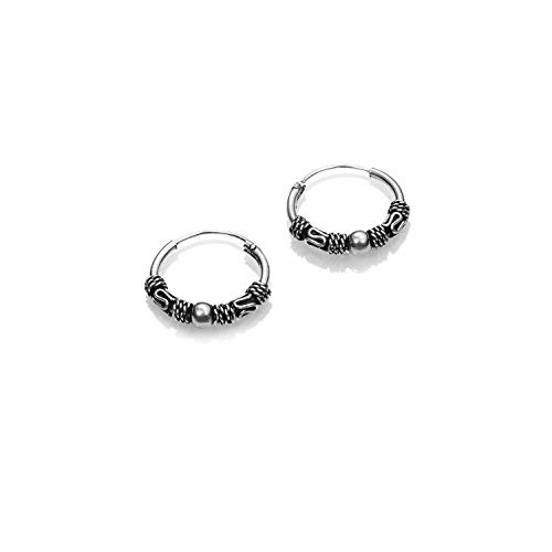 Sterling Silver Bali Hoops Earrings for Women and Man - 925 Silver Earrings Tribal Perfects As Birthday Gifts For Her And & Him Ethnic Earring Hoop - Size:14,18,22, 30 mm (14 mm)