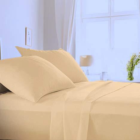 Made in Italy - Completo Lenzuola + 2 Federe per letto Matrimoniale in puro cotone di alta qualità 100% Made in Italy (sotto con Angoli H 20cm) Angel's (Beige, Matrimoniale)