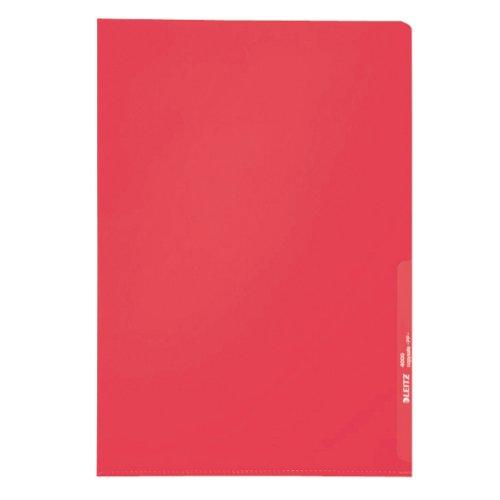 Leitz Sichthülle Standard, A4, PP, genarbt, dokumentenecht, rot, 100 -er Pack