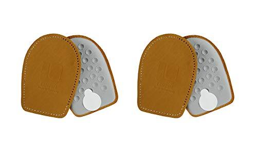 Lenzen 2 Paar Fersenpolster aus Leder und Latex Schaum I Orthopädisches Fersenkissen als Schuheinlage für Fersenschutz und Fersensporn, Beige, 35-37