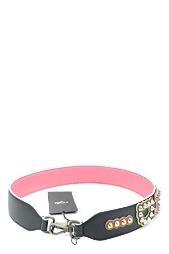 FENDI 8AV077 Ohrstecker für Damen, Kalbsleder, Schwarz/Pink