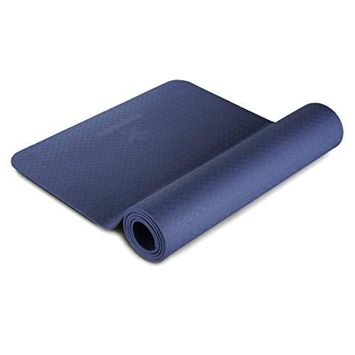 BODYMATE Yogamatte Premium TPE Navy-Peony - Größe 183x61cm – Dicke 6mm – Schadstoffgeprüft frei von Phthalaten, BPA, Schwermetallen – Trainings-Matte für Fitness, Yoga, Pilates, Functional