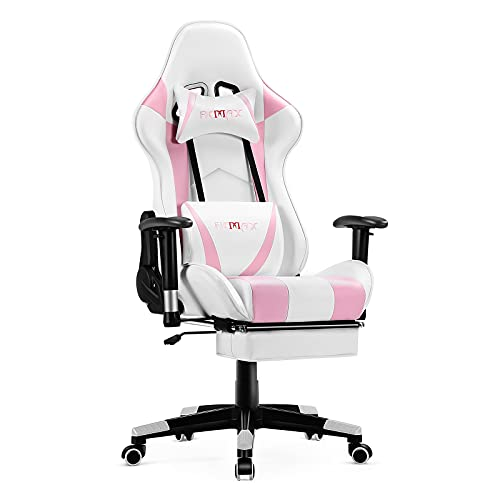 Ficmax Pink Gaming Chair with Footrest, Racing Style Gamer Chair with...