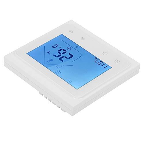 Termostato, Excelente Controlador de Temperatura Digital 95-240V AC, 50-60Hz con Abs+Pc 86 x 86 x 40mm para Alexa LCD Pantalla Táctil (Negro, Blanco)