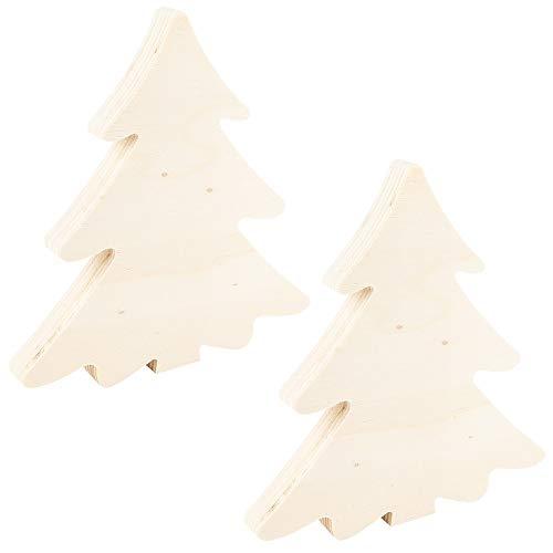 Ideen mit Herz Aufsteller aus naturbelassenem Holz | ideal zum Bemalen, Basteln, DIY | Weihnachtsdeko selber herstellen (Tannenbäume | 2 Stück | 15 x 14 x 1,5 cm)
