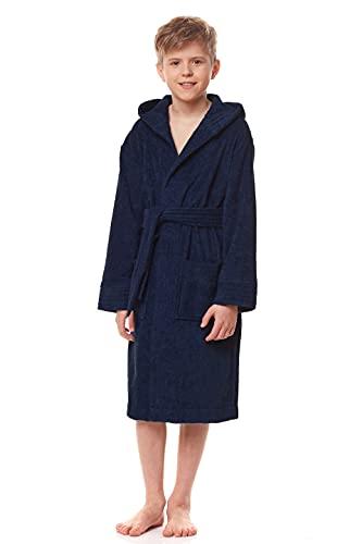 L&L - 2105 Albornoz infantil con capucha para niños y niñas, de rizo, de manga larga con cinturón de cadera, 100% algodón Granada. 146