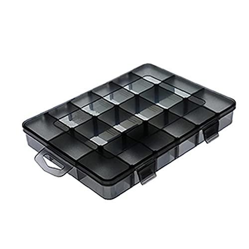 lujiaoshout Joyas Caja de Almacenamiento de contenedores Organizador apilable 18 cuadrículas Compartimiento Contenedor con divisores M Craft Gadget