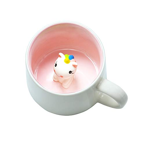 Cute Unicorn Ceramic Mug Unique Hand Painted Novelty 3D Animal Cups,Personalised Chocolate Tea Milk Mugs,for Weddings, Birthdays, Unicorn Lovers Women Girls