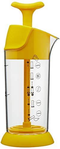 pressca Milchaufschäumer, manuell, klein und tragbar, mikrowellengeeignet (gelb)