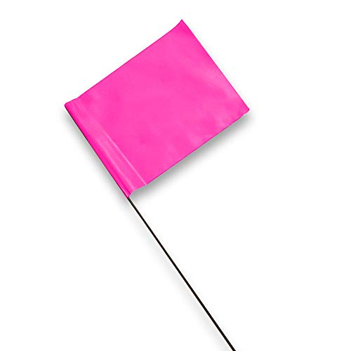 ACE Supply Marking Flags - 4 x 5-Inch Flag on 15-Inch Steel Wire - Neon Pink, 100-Pack - Markers for Lawn Sprinklers, Irrigation, Property Line, Yard & Garden, Survey Stakes, Invisible Fence
