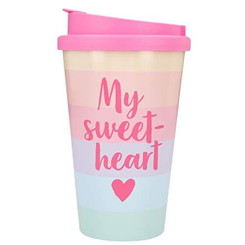 Depesche 2180.038 to-Go Becher aus Kunststoff mit Spruch, 350 ml, My Sweetheart, Mehrfarbig