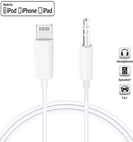 for iPhone to Car Aux Cable, Lighting to 3.5mm Stereo Audio Cord Compatible for iPhone 11/11 Pro/XR/XS/X 8 7 6, iPad, iPod to Car Stereo/Speaker/Headphone, Support iOS 13