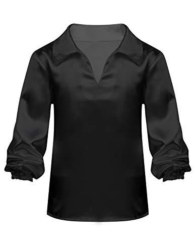 iiniim Kinder Jungen Mädchen Satin Langarm Shirt V-Ausschnitt Latein Jazz Tanz Hemd Anzug Gymnastik Wettbewerb Tanzkleidung Schwarz 134-140/9-10 Jahre