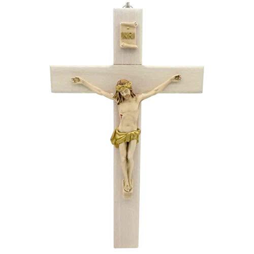 Crocifisso da parete in legno naturale, corpo cristiano & INRI colorato in plastica pressofuso, croce in legno dorata, 23 cm, travi dritte
